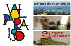 amoblado diario. estadias, vacaciones en valparaiso, fono 322339961