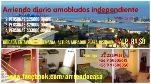 amoblados x dia, vacaciones, valparaiso,  wasap +56 9 58505612